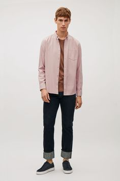 COS image 15 of Button collar shirt in Pale Pink