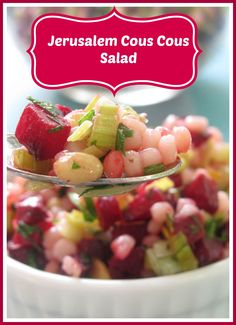 Jerusalem or Israeli cous cous salad from MotherWouldKnow.com. Easy and so delicious, packed with healthy veggies.