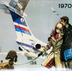 LOT Poster Janusz Grabianski 1970 European Airlines, Vintage Travel Posters, Vintage Airline, Elegant Couple, Come Fly With Me, Orbis, Airline Travel, Les Oeuvres, How To Draw Hands