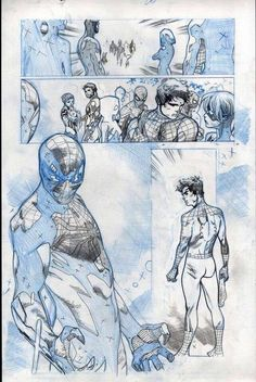 Spider-Verse interior art by Olivier Coipel * Comic Book Layout, Comic Book Pages, Comic Book Artists, Comic Artist, Comic Books Art, Comics Spiderman, Marvel Comics Art, Bd Comics, Storyboard