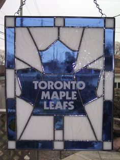 Items similar to Stained Glass Toronto Maple Leafs on Etsy Stained Glass Projects, Stained Glass Patterns, Maple Leafs Wallpaper, Maple Leafs Hockey, Hockey Decor, Canadian Things, Toronto Photography, Hockey Season, Sports Art