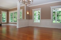 Raised Panel Wainscoting: This has an elegant look. Some people use the same paint for the entire wall, so the wainscoting appears as an accent.