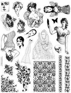 TONS of stamps for sale$$  Paper doll parts rubber stamps art doll collage queen heads legs