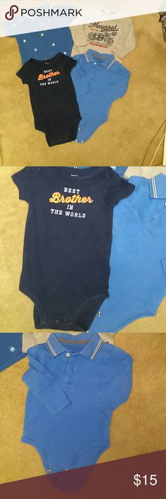 9 month bundle of 4 tops 3 blue shirts and 1 gray motorcycle shirt.  See individual photos of each.  Price is firm. Shirts & Tops
