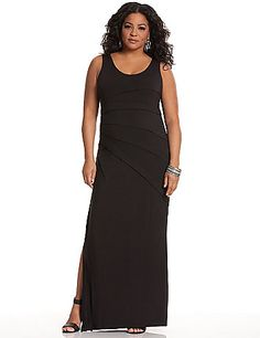Deliciously-soft knit maxi dress gets the flattering Lysse treatment with a body-smoothing liner that slims without compression. Perfect for the season but versatile enough for any time and anywhere, this lovely maxi features a sexy scoop neckline and fresh banded details, with a high leg slit. Pull-on style. lanebryant.com