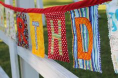Fabric Happy Birthday Banner, Reusable Party Decoration, Unisex, Boy, Girl, Bright, Color, Primary. $42.00, via Etsy.