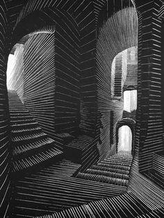 Xilografia, M. Escher Covered Alley in Atrani, Amalfi, 1931 - - Wood engraving Escher Kunst, Escher Art, Mc Escher, Illusion Kunst, Illusion Art, Op Art, Arte Obscura, Dutch Artists, Art Moderne