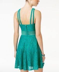City Studios Juniors' Lace Fit & Flare Dress - Green 0
