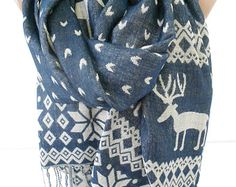 Nordic Scarf Shawl Snowflake Deer Scarf Navy Beige Double Sided Winter Scarf Women Men Scarf Fashion Accessories Christmas Gift Idea For Her