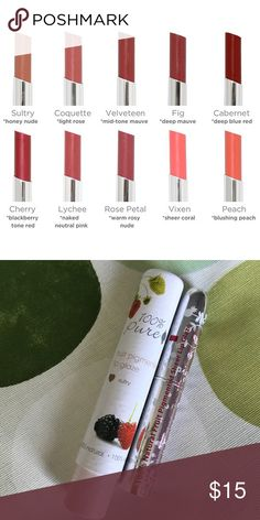 ☃️ SULTRY • Lip Glaze vegan Lipstick • 100% Pure This moderately sheer HONEY NUDE lipstick receives its hue from real fruit powder. Lip Glaze Lipsticks are 100% natural in a moisturizing base of avocado and cocoa butters.  Non feathering, always colour true. Vegan. Full size, retails for $25.00. 100% Pure Makeup Lipstick