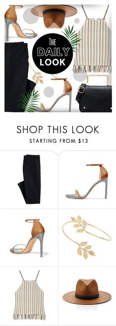 """""""Stripe Top Daily Look With FSJ Shoes"""" by jiabao-krohn ❤ liked on Polyvore featuring Canvas by Lands' End, Miss Selfridge, Miguelina, Janessa Leone and fsjshoes"""