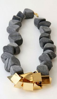 Charcoal and Gold necklace  ~ Loved by DanykaCollection.com ~