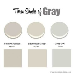Three Best Gray Paint Colors to use in any room of the house: Benjamin Moore HC-172 Revere Pewter. Benjamin Moore HC-173 Edgecomb Gray. Benjamin Moore OC-52 Gray Owl.