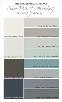 Readers' Favorite Paint Colors {Color Palette Monday} I hope you guys had a fantastic weekend and a great of July! This week for Color Palette Monday, I've pulled a palette together of readers' favorite paint colors from feedback over the last 12 week Colour Schemes, Color Combos, Paint Schemes, Beach Color Schemes, Paint Combinations, Modern Color Schemes, House Color Schemes, Color Trends, Wall Colors