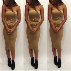 Strapless Suede Midi Dress brand new, never worn! Dresses Midi