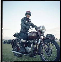 Leather Girl Hiroko - Lewis-Leathers, Davida Helmet, Triumph 5T, Hasselblad 500