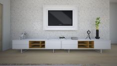 Sala de estar com piso laminado claro Projeto de Angélica Rodrigues Double Vanity, Flat Screen, Tv, Laminate Flooring, Benefit Brow, Tips, Dining, White Interior Doors, Wood Flooring