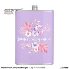 Bachelorette party custom gift for Bride-to-Be Flask Name Gifts, Bff Gifts, Bride Gifts, Party Accessories, Travel Accessories, Bachelorette Party Gifts, Gift Wrapping Supplies, Purple Aesthetic, Tropical Flowers
