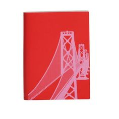 Large Slim Notebooks; San Francisco Bay Bridge - Poppy Red