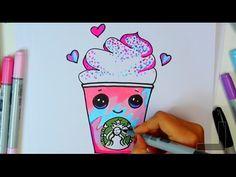 how to draw a starbucks unicorn frap cartoon - Frappuccino Cute step by step Cartoon Drink diy - YouTube
