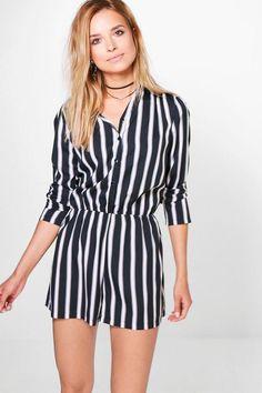 ba7af84846 Bry Striped Shirt Playsuitalternative image Black Playsuit