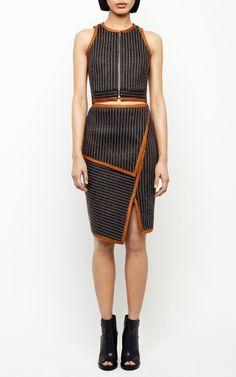 Neo Pinstripe Layer Skirt by Jonathan Simkhai for Preorder on Moda Operandi