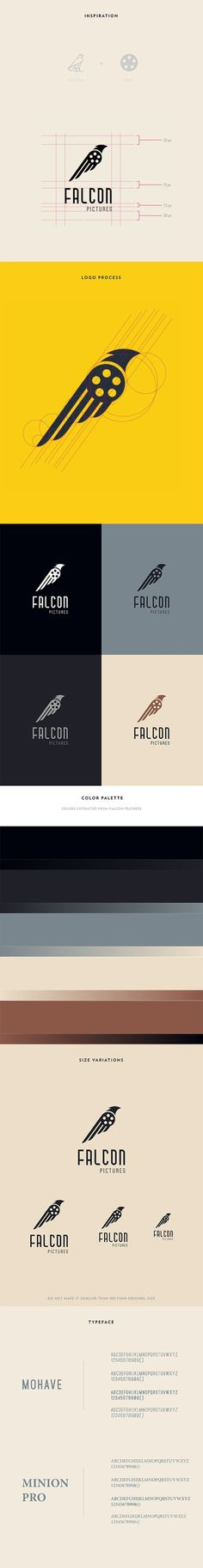 Falcon Pictures Logo Design by Grunz Saint / animal. I picked this design because I enjoyed the different take on the bird and I enjoyed the design of the wings. Typography Logo, Logo Branding, Typography Design, Lettering, Brand Identity, Coperate Design, Design Logo, Label Design, Logo Sketch