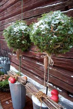 "Several good ideas for decorating the winter garden. Making a big ball with evergreen (moss, leaves, pine, anything) and turning into a ""tree"" is really clever."