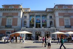 The outside of the Prado museum in Madrid. Buying tickets online before your visit is one of our things you should know before traveling to Madrid.