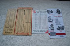 Vintage Machinist Tool Reference Conversion Card Lot Lufkin, Moline, Greenfield