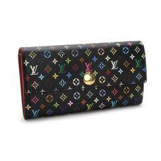 Louis Vuitton Portefeuille Sarah Monogram Multicolore Wallets Black Canvas M93747