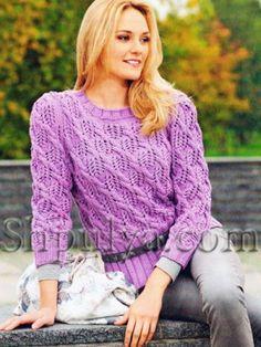 Сиреневый пуловер из ажурного узора с косами