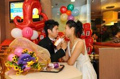 """""""Here Comes The Fries."""" McDonalds launches McWeddings in Hong Kong last March Hotel Wedding Venues, Wedding Reception, Barbecue Wedding, Party Logo, Bouquet Images, Spring Wedding Bouquets, Catering Menu, Menu Restaurant, Kfc"""