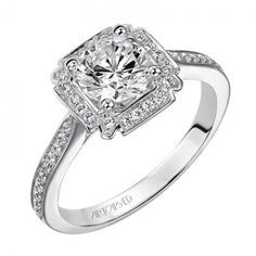 Rochelle ArtCarved Diamond Engagement Ring....beautiful and different! I think this cushion cut is my fave.