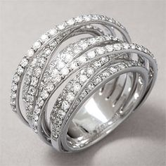 Save on the 18K 2.50 cttw. Diamond 9-Row Criss Cross Ring at ...