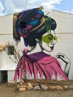 """""""Melnagai"""", a new mural by Fin DAC in Ibiza, Spain"""