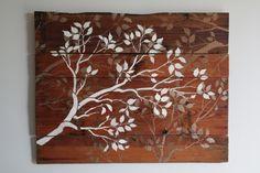 DIY wall stenciled wood
