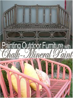 Painting Outdoor Furniture With Chalk/Mineral Paint….My Island Coral Painting garden furniture with chalk / mineral paint …. My Island Coral … Painting Patio Furniture, Painted Outdoor Furniture, Cane Furniture, Outdoor Furniture Design, Chalk Paint Furniture, Coral Furniture, Furniture Ideas, Coaster Furniture, Furniture Layout