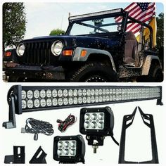 "Jeep TJ Pack 2 97 - 2006 50"" Light bar / pods and brackets - Leds4less"