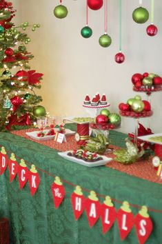 Easy Christmas Party Ideas with fun food appetizers and desserts for an ornament exchange party. Strawberry Santa Hats and Christmas Tree Fruit. Tacky Christmas Party, Christmas Party Table, Office Christmas Party, Christmas Themes, Christmas Tree Decorations, Christmas Holidays, Cheap Christmas, Table Decorations, Christmas Ornament