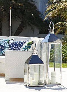 Love oversized lanterns for outdoor styling - ensure you weigh them down with something though!