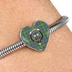 Whitelaw district Tartan Crest Heart Bracelet – Your Tartan Working Mother, Working Moms, Scottish Tartans, Everyday Items, Heart Bracelet, Bangles, Bracelets, Heart Charm, 18k Gold