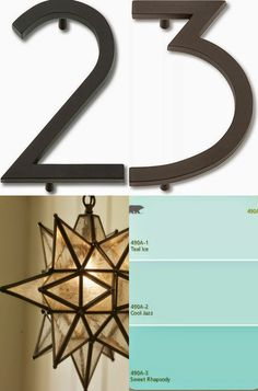 my favorite shade of turquoise on the dutch door, modern house numbers and a moravian star light fixture. get this look :