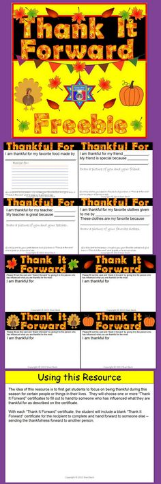 "FREEBIE for Thanksgiving!  Thank It Forward - Help your students take time to be thankful for people/things in their life and to help ""thank it forward"" by passing certificates on to someone else to pass forward."