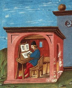 "'studiolo rosa'  source: http://www.lisakaborycha.com/drupal/node/17  ""Humanists wanted to get into direct contact with the texts of antiquity, reading them in the original, and without the mediation of scholastic interpretations."""