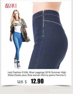 40,115 KG Mujeres rasgado agujero Vaqueros ajustados 2.016 oscuras del tamaño extra Ropa de mujer Blue Jeans Femme mediados de cintura de los pantalones del lápiz de algodón de mezclilla comprar en una tienda en Aliexpress Leiji Jeans