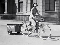 Olivia de Havilland rides a bike.  Tags: Olivia de Havilland Captain Blood 1935 Michael Curtiz Warner Bros. First National Pictures