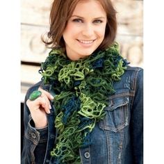 Scarf in Katia Triana- quick knit fashion yarn. Free pattern for fun scarf to revive any outfit.