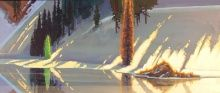 """Spring Reflections on Shallow Creek Pond  16 3/4"""" X 40"""" by Stephen Quiller."""