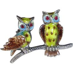 @rubylanecom  Sterling Enamel Pin Two Owls on a Branch